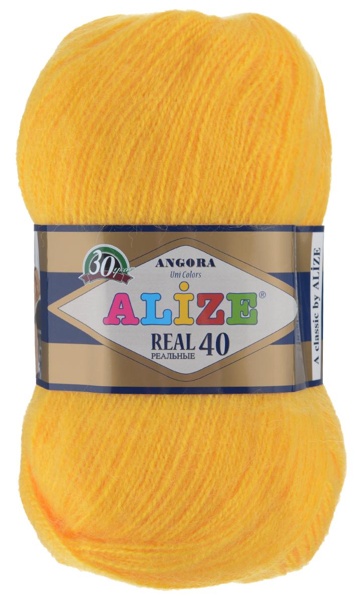 Пряжа для вязания Alize Angora Real, цвет: оранжево-желтый (216), 480 м, 100 г, 5 шт551390_216Alize Angora Real - это ровная, тонкая и пушистая пряжа, изготовленная из 60% акрила и 40% шерсти. Нить не вытягивается, достаточно прочная и крепкая.Такая пряжа идеально подойдет для вязания зимних вещей (шарфов, жилетов, пуловеров), с различными ажурными узорами. Вещи, связанные из этой пряжи, хорошо и долго носятся, не выгорают и не линяют. Предназначена для ручного вязания спицами и крючком. Рекомендуемый размер спиц 2,5-5 мм и крючка 1-4 мм. Комплектация: 5 мотков. Состав: 60% акрил, 40% шерсть.