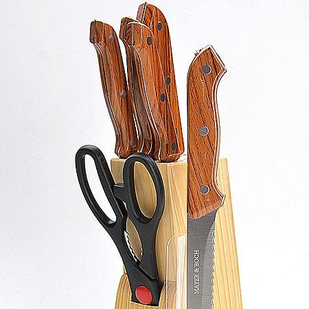 Набор ножей Mayer & Boch, 7 предметов. 398398Набор ножей 7 пр Ножи:15,2см,17,8см,13,3см,11,4см,8,9см+ ножницы 21,6см+ деревянная подставка материал:нерж.сталь подставка:сосна ручка;полипропилен размер упаковки:13,6х6,5х33,7см вес 1,03кг