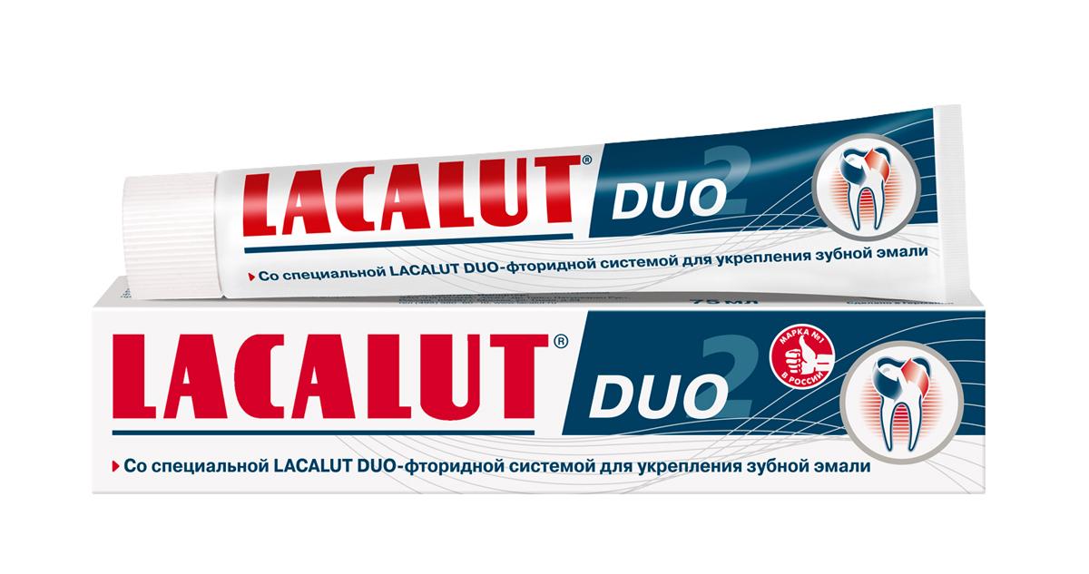 Lacalut Зубная паста Duo 75мл1598012012Зубная паста Lacalut Duo, 75мл.Со специальной Lacalut Duo-фторидной системой для укрепления зубнойэмали.Регулярное использование зубной пасты Lacalut Duo является эффективнымметодом профилактики кариеса.Благодаря специальной сбалансированной комбинации фторида натрия иаминофторида достигается быстрое проникновение и насыщение зубной эмалифтором.Способствует длительной и эффективной реминерализации и укреплениюэмали, повышает её резистентность к развитию кариеса.