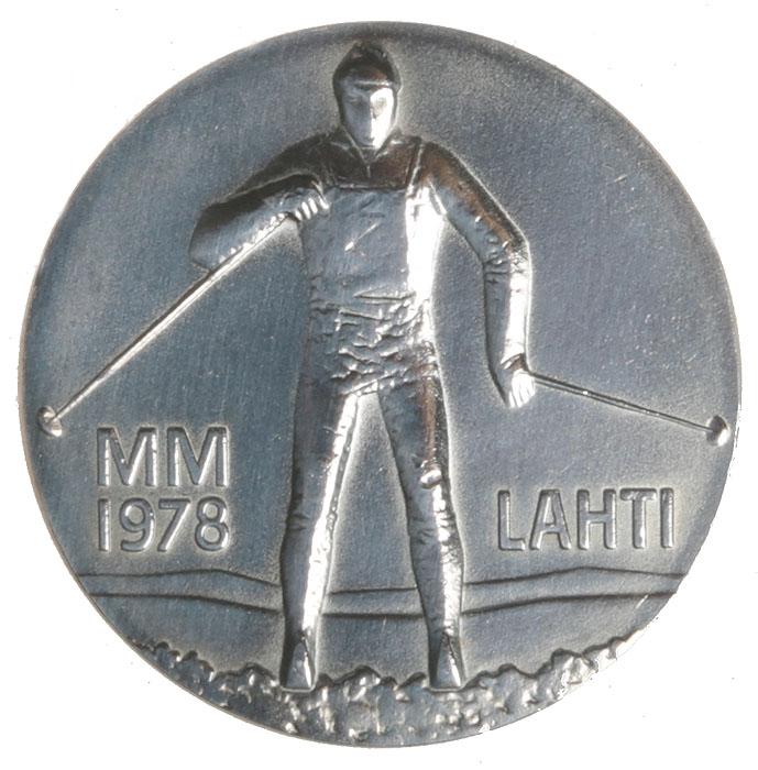 Монета номиналом 25 марок Чемпионат мира 1978 по лыжным видам спорта в Лахти. Финляндия. 1978 год739Диаметр: 3.5 см. Качество чеканки: UNC Тираж: 500000 экземпляров