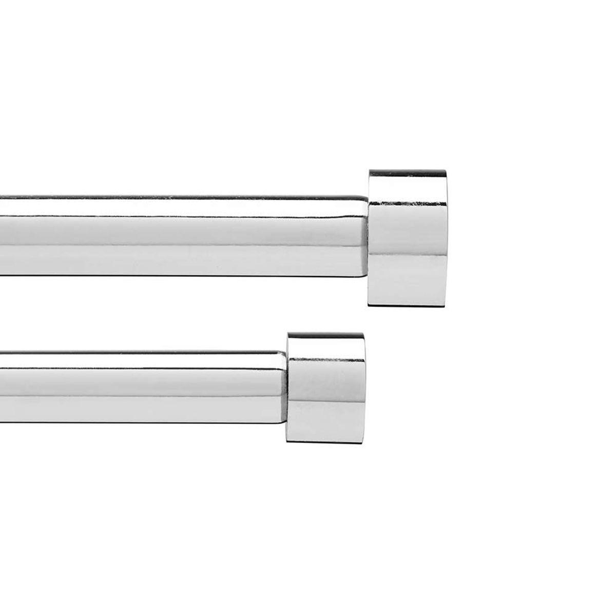Карниз Umbra двойной Cappa (91-183 см) хром. 245963-158245963-158Двойной карниз для штор Cappa имеет телескопическую конструкцию, которая позволяет регулировать его длину, и металлические украшения в виде насадок по краям. Диаметр переднего карниза 1,9 см, заднего 1,6 см. Крепления идут в комплекте.