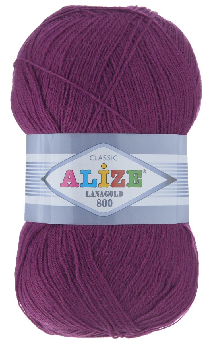 "Пряжа для вязания Alize ""Lanagold 800"", цвет: баклажан (50), 800 м, 100 г, 5 шт"