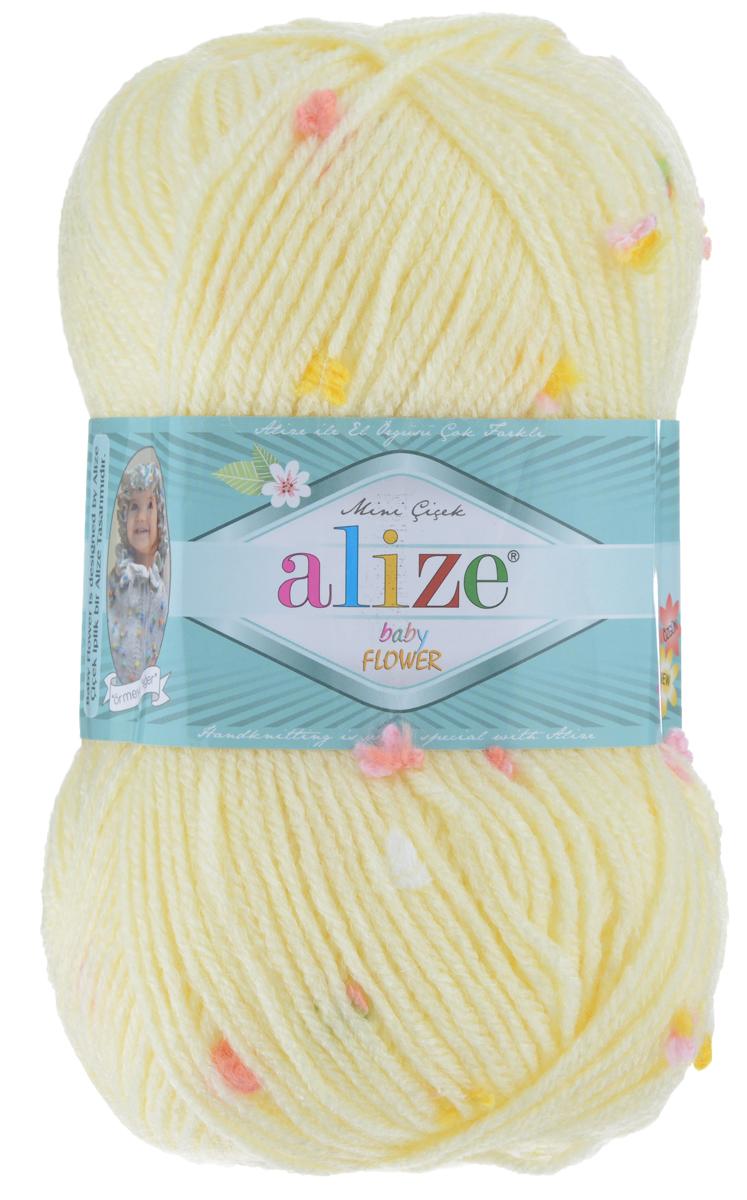 Пряжа для вязания Alize Baby Flower, цвет: светло-желтый, зеленый, розовый (5412), 210 м, 100 г, 5 шт582006_5412Alize Baby Flower - это фантазийная теплая и мягкая пряжа, изготовленная из 94% акрила и 6% полиамида. Такая пряжа идеально подойдет для изготовления всевозможных детских изделий (жилетов, платьиц, а также подходит для вязания шапок, шарфов, снудов). Изделия практичны в носке и уходе. Рекомендуемый размер спиц 3,5-4,5 мм и крючка 2-3 мм. Комплектация: 5 мотков. Состав: 94% акрил, 6% полиамид.
