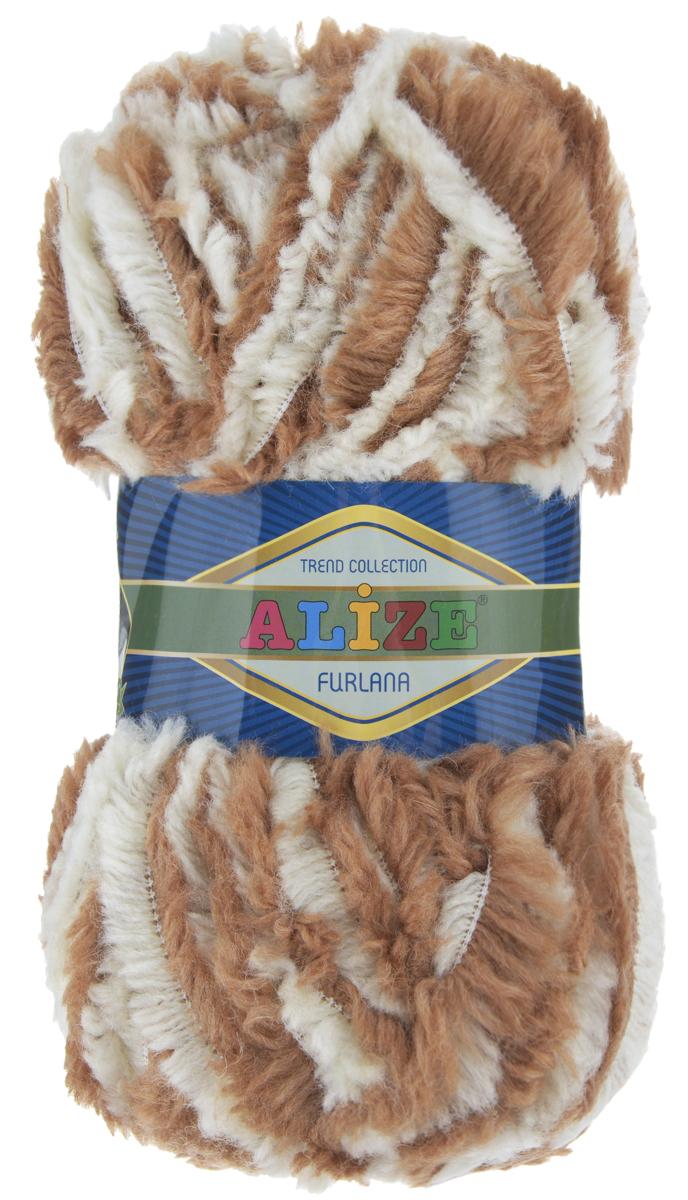 Пряжа для вязания Alize Furlana, цвет: светло-коричневый, белый (5444), 40 м, 100 г, 5 шт - Alize582007_5444Alize Furlana - это полушерстяная пряжа для ручного вязания, имитирующая мех с натуральной текстурой. Нить плотно скручена, гибкая, послушная. Стойкое равномерное окрашивание обеспечивает широкую палитру оттенков, высокое качество материала и используемых красителей защищает от потери цвета. Соотношение шерсти и акрила - формула практичности. Высокие тепловые характеристики сочетаются с эстетикой, носкостью и простотой ухода за вещью. Классическая пряжа для зимнего сезона, может использоваться для детской и взрослой одежды. Alize Furlana - универсальная пряжа, которая будет хорошо смотреться в узорах любой сложности. Рекомендуемые спицы для вязания: № 8-12. Комплектация: 5 мотков. Состав: 45% шерсть, 45% акрил, 10% полиамид.
