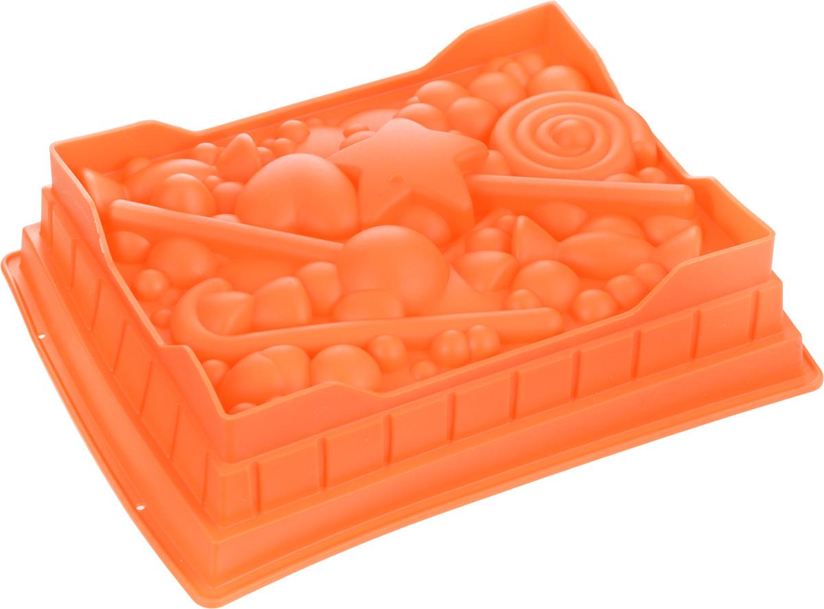 Форма для выпечки Mayer & Boch, силиконовая, цвет: оранжевый, 27 см х 22 см х 7 см24623_оранжевыйКвадратная форма для выпечки Mayer & Boch изготовлена из силикона в виде различных сладостей и фигурок. Силикон - материал, который выдерживает температуру от -40°С до +230°С. Изделия из силикона очень удобны в использовании: пища в них не пригорает и не прилипает к стенкам, форма легко моется. Приготовленное блюдо можно очень просто вытащить, просто перевернув форму, при этом внешний вид блюда не нарушится. Изделие обладает эластичными свойствами: складывается без изломов, восстанавливает свою первоначальную форму. Порадуйте своих родных и близких любимой выпечкой в необычном исполнении. Подходит для приготовления в микроволновой печи и духовом шкафу при нагревании до +230°С; для замораживания до -40°. Можно мыть в посудомоечной машине.