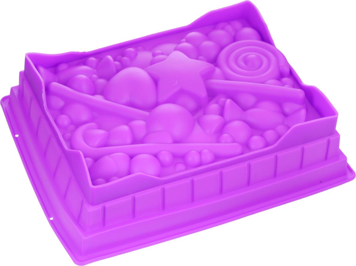 Форма для выпечки Mayer & Boch, силиконовая, цвет: фиолетовый, 27 х 22 х 7 см24623_фиолетовыйПрямоугольная форма для выпечки Mayer & Boch изготовлена из силикона в виде различных сладостей и фигурок. Силикон - материал, который выдерживает температуру от -40°С до +230°С. Изделия из силикона очень удобны в использовании: пища в них не пригорает и не прилипает к стенкам, форма легко моется. Приготовленное блюдо можно легко извлечь, просто перевернув форму, при этом внешний вид блюда не нарушится. Изделие обладает эластичными свойствами: складывается без изломов, восстанавливает свою первоначальную форму. Порадуйте своих родных и близких любимой выпечкой в необычном исполнении. Подходит для микроволновой печи и духового шкафа при нагревании до +230°С; для замораживания до -40°. Можно мыть в посудомоечной машине. Размер формы: 27 х 22 см. Высота формы: 7 см.