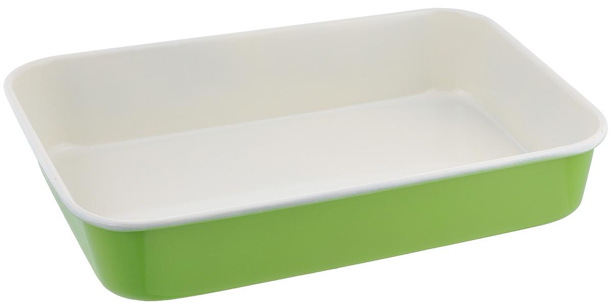 Противень Mayer & Boch, с керамическим покрытием, прямоугольный, цвет: салатовый, 40 х 28 х 7,6 см22255Противень Mayer & Boch выполнен из высококачественной углеродистой стали и снабжен антипригарным керамическим покрытием, что обеспечивает ему прочность и долговечность. Противень равномерно и быстро прогревается, что способствует лучшему пропеканию пищи. Его легко чистить. Готовая выпечка без труда извлекается. Противень подходит для использования в духовке с максимальной температурой 250°С. Перед каждым использованием противень необходимо смазать небольшим количеством масла. Простой в уходе и долговечный в использовании противень Mayer & Boch станет верным помощником в создании ваших кулинарных шедевров. Не рекомендуется мыть в посудомоечной машине. Размер противня: 40 х 28 х 7,6 см. Толщина стенки противня: 0,6 мм.