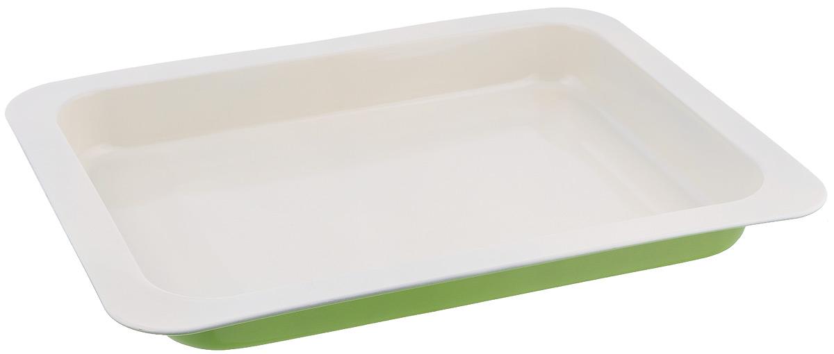 Противень Mayer & Boch, с керамическим покрытием, прямоугольный, цвет: салатовый, 42,5 см х 31,5 см х 4,5 см22251Противень Mayer & Boch выполнен из высококачественной углеродистой стали и снабжен антипригарным керамическим покрытием, что обеспечивает ему прочность и долговечность. Противень равномерно и быстро прогревается, что способствует лучшему пропеканию пищи. Его легко чистить. Готовая выпечка без труда извлекается. Противень подходит для использования в духовке с максимальной температурой 250°С. Перед каждым использованием противень необходимо смазать небольшим количеством масла. Простой в уходе и долговечный в использовании противень Mayer & Boch станет верным помощником в создании ваших кулинарных шедевров. Не рекомендуется мыть в посудомоечной машине. Размер противня: 42,5 см х 31,5 см х 4,5 см. Толщина стенки: 0,5 мм.