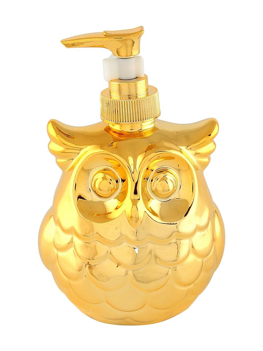 Диспенсер для жидкого мыла Elan Gallery Сова, цвет: золотой, 400 мл430063Диспенсер для жидкого мыла Elan Gallery Сова, изготовленный из керамики, отлично подойдет для вашей ванной комнаты. Изделие выполнено в виде совы. Такой аксессуар очень удобен в использовании, достаточно лишь перелить жидкое мыло в дозатор, а когда необходимо использование мыла, легким нажатием выдавить нужное количество. Дозатор Elan Gallery Сова создаст особую атмосферу уюта и комфорта в ванной комнате.