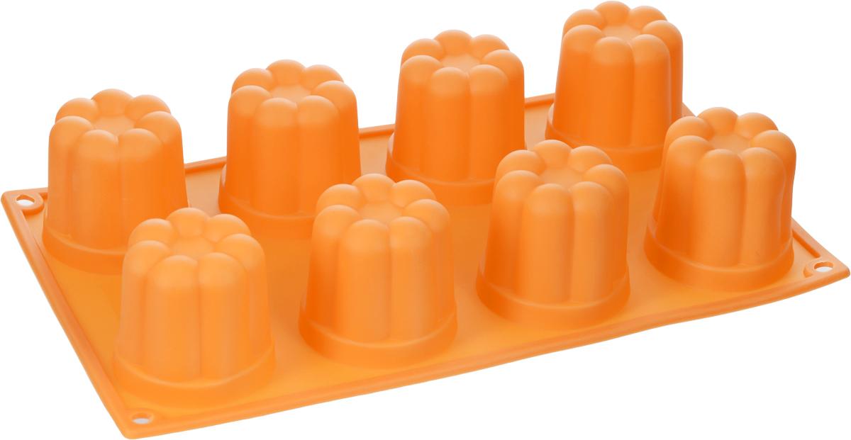 Форма для выпечки и заморозки Regent Inox Пуддинг, цвет: оранжевый, 8 ячеек93-SI-FO-35Форма для выпечки и заморозки Regent Inox Пуддинг состоит из 8 одинаковых ячеек. Силиконовая форма предназначена для изготовления конфет, мармелада, желе, льда, выпечки и другого. Оригинальный способ подачи изделий не оставит равнодушным родных и друзей. Силиконовые формы Regent Inox Silicone выдерживают высокие и низкие температуры (от - 40°С до + 230°С). Они эластичны, износостойки, легко моются, не горят и не тлеют, не впитывают запахи, не оставляют пятен. Силикон абсолютно безвреден для здоровья. Размер одной ячейки: 6 см х 6 см х 5 см.