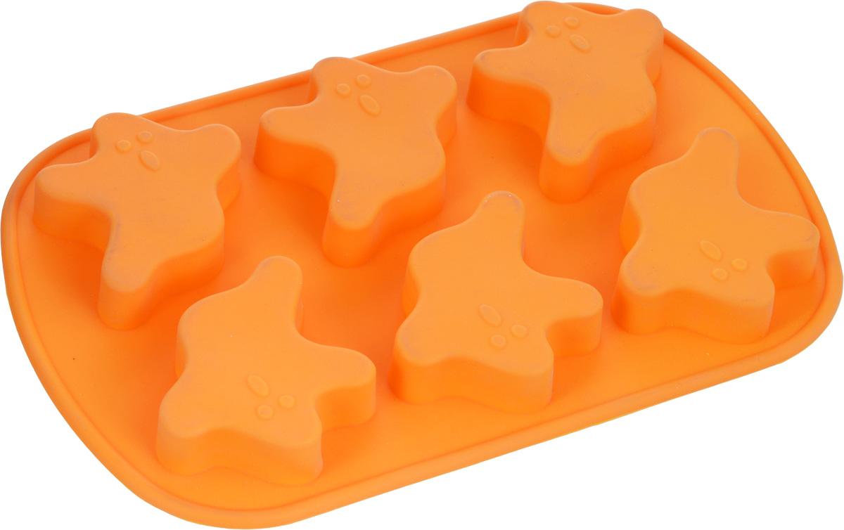 Форма для выпечки Mayer & Boch, силиконовая, цвет: оранжевый, 6 ячеек, 24 х 16 х 2 см3715Квадратная форма для выпечки Mayer & Boch изготовлена из силикона. С ее помощью можно делать выпечку в виде привидений. Силикон - материал, который выдерживает температуру от -40°С до +230°С. Изделия из силикона очень удобны в использовании: пища в них не пригорает и не прилипает к стенкам, форма легко моется. Приготовленное блюдо можно очень просто вытащить, просто перевернув форму, при этом внешний вид блюда не нарушится. Изделие обладает эластичными свойствами: складывается без изломов, восстанавливает свою первоначальную форму. Порадуйте своих родных и близких любимой выпечкой в необычном исполнении. Подходит для приготовления в микроволновой печи и духовом шкафу при нагревании до +230°С; для замораживания до -40°. Можно мыть в посудомоечной машине. Размер одной ячейки: 7 х 6,4 х 1,5 см.