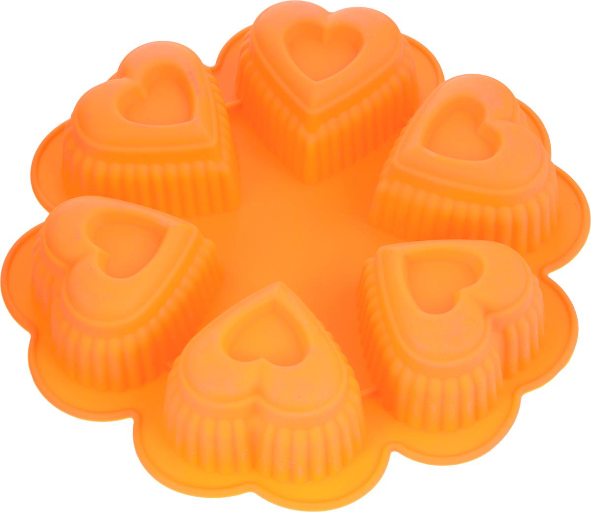 Форма для выпечки Marmiton Сердце, цвет: оранжевый, 25,5 х 25,5 х 5 см, 6 ячеек16027_оранжевыйФорма для выпечки Marmiton Сердце выполнена из силикона. На одном листе расположены 6 ячеек в виде сердец. Благодаря тому, что форма изготовлена из силикона, готовый лед, выпечку или мармелад вынимать легко и просто. Материал устойчив к фруктовым кислотам, может быть использован в духовках и микроволновых печах (выдерживает температуру от -40°С до 230°С). Можно мыть и сушить в посудомоечной машине. Общий размер формы: 25,5 х 25,5 х 5 см. Размер ячейки: 8 х 8 х 5 см.