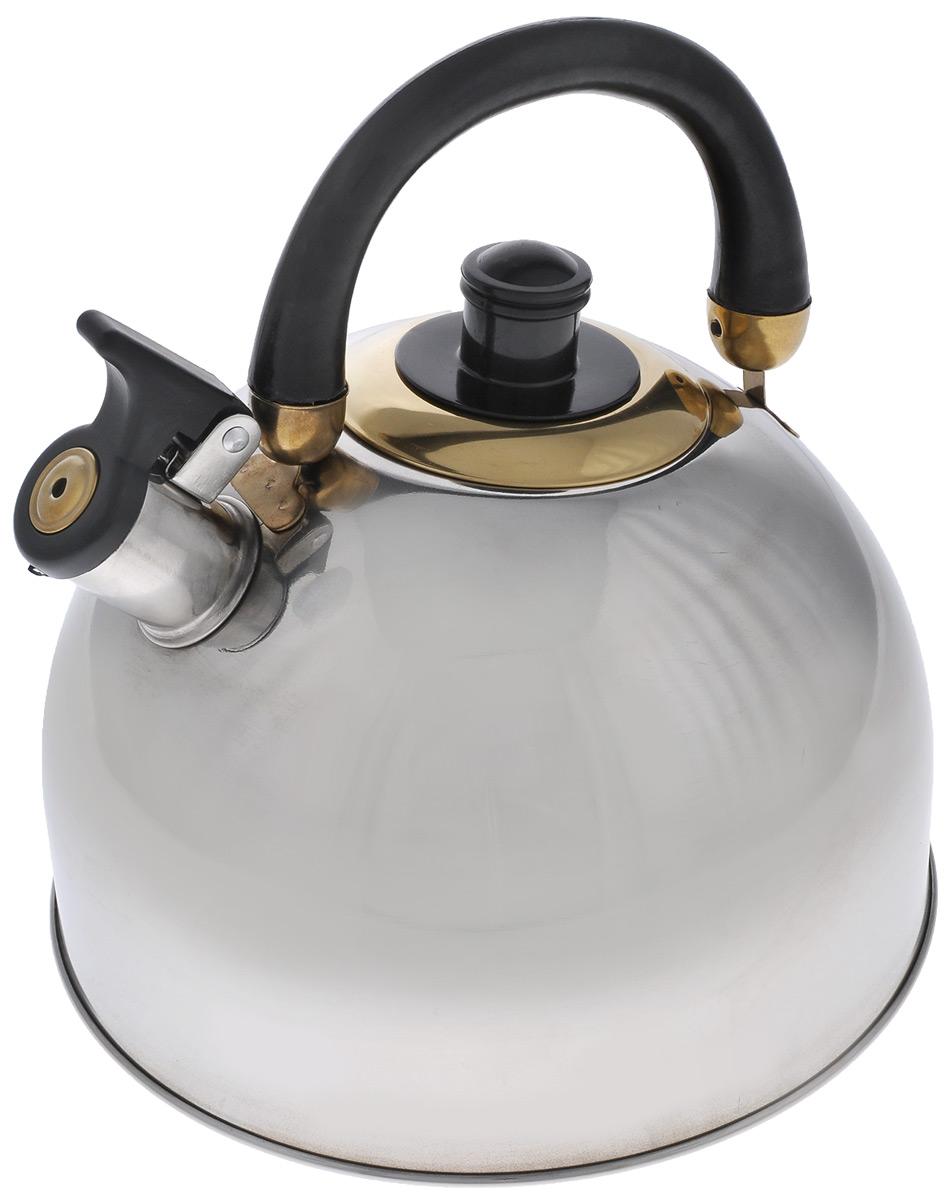 Чайник Mayer & Boch, со свистком, цвет: черный, стальной, 5,5 л20439Чайник Mayer & Boch выполнен из высококачественной нержавеющей стали, что делает его весьма гигиеничным и устойчивым к износу при длительном использовании. Капсулированное дно с прослойкой из алюминия обеспечивает наилучшее распределение тепла. Носик чайника оснащен насадкой-свистком, что позволит вам контролировать процесс подогрева или кипячения воды. Фиксированная ручка, изготовленная из бакелита черного цвета, делает использование чайника очень удобным и безопасным. Поверхность чайника гладкая, что облегчает уход за ним. Эстетичный и функциональный, с эксклюзивным дизайном, чайник будет оригинально смотреться в любом интерьере. Подходит для газовых, электрических, стеклокерамических плит. Не подходит для индукционных плит. Можно мыть в посудомоечной машине. Высота чайника (без учета ручки и крышки): 15,5 см. Высота чайника (с учетом ручки и крышки): 23,5 см. Диаметр чайника (по верхнему краю): 8 см.