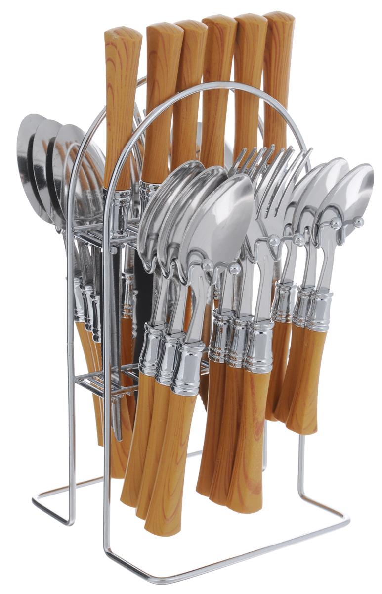 Набор столовых приборов Mayer & Boch, 25 предметов. 49864986Набор столовых приборов Mayer & Boch выполнен из прочной нержавеющей стали. В набор входит 25 предметов: 6 обеденных ножей, 6 обеденных ложек, 6 обеденных вилок, 6 чайных ложек и подставка. Ручки приборов выполнены из пластика под дерево. Предметы набора расположены на подставке из стали. Подставка оснащена секциями для каждого вида прибора. Столовые приборы высокого качества будут доставлять вам удовольствие при каждом приеме пищи. Они подойдут как для повседневного использования, так и для торжественных случаев. Набор столовых приборов Mayer & Boch подойдет для сервировки стола как дома, так и на даче, и всегда будет важной частью трапезы, а также станет замечательным подарком. Можно мыть в посудомоечной машине. Длина столовой ложки/вилки: 19 см. Длина чайной ложки: 15 см. Длина ножа: 21 см. Размер подставки: 13,5 см х 12,5 см х 23 см.
