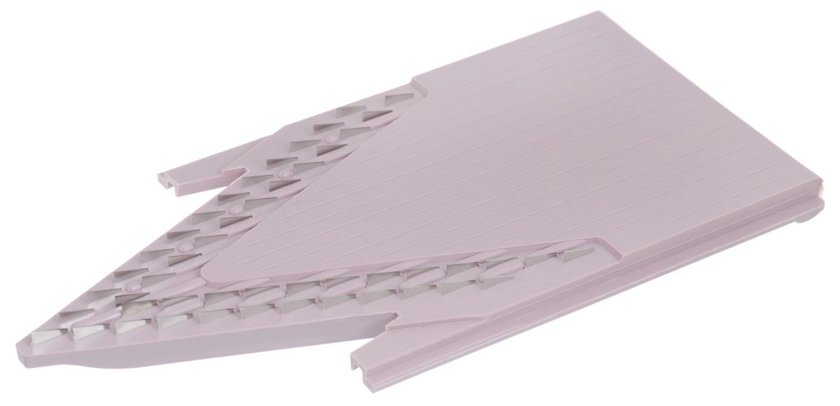Вставка для терки Borner Classic, цвет: сиреневый, 1,6 мм3810495Вставка Borner Classic дополняет основной комплект овощерезки. Нарезка из любого продукта получится тонкой длинной или короткой соломкой, мелкими кубиками, в 2 раза мельче, чем на вставке из стандартной комплектации. Очень важно иметь такую вставку для приготовления плова, тонких нежных овощных салатов или еды для малышей. Ширина нарезки: 1,6 мм.