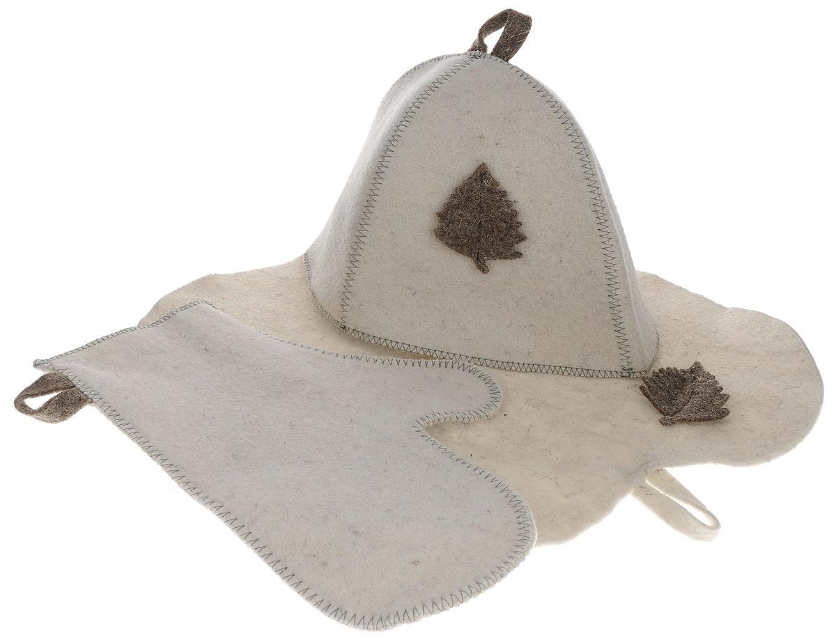 Набор подарочный для бани и сауны Главбаня, цвет: бежевый, 3 предмета. Б1516Б1516_бежевыйПодарочный набор для бани и сауны Главбаня, изготовленный из шерсти и полиэфира, состоит из шапки, рукавицы и коврика. Коврик используется в качестве подстилки на пол или скамейки, он убережет вас от ожогов и воздействия на кожу высоких температур. Шапка - незаменимый атрибут в бане, она предотвращает сухость и ломкость волос, а также защищает от головокружения. Шапка и коврик декорированы объемной фигуркой в виде листочка. Все предметы набора имеют специальную петельку для подвешивания. Такой набор поможет с удовольствием и пользой провести время в бане, а также станет чудесным подарком друзьям и знакомым, которые по достоинству оценят его при первом же использовании. Размер коврика: 44 см х 32 см. Обхват головы: 66 см. Высота шапки: 25 см. Размер рукавицы: 28 см х 22,5 см.