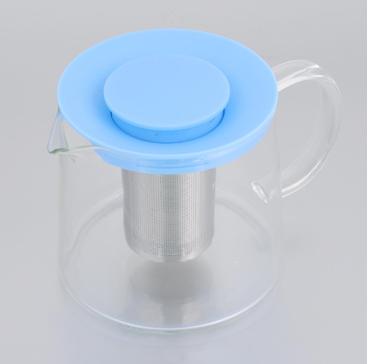 Чайник заварочный Идея Камилла, цвет: голубой, 1 лKML-01_голубойЧайник Идея Камилла прекрасно подходит для заваривания чая, кофе и травяных настоев. Он изготовлен из высококачественного жаропрочного стекла, оснащен металлическим фильтром и пластиковой крышкой. Основные достоинства чайника: - возможность регулировать время заваривания, - возможность комбинировать напиток с различными наполнителями (специи, травы), - возможность подогрева напитка на газовой плите (при 180°С). Чайник Идея Камилла помимо своего прямого предназначения несет дополнительную функцию наполнения интерьера яркостью и теплотой. Чаепитие с друзьями станет прекрасным времяпрепровождением. Диаметр (по верхнему краю): 11 см. Диаметр основания: 12,5 см. Высота фильтра: 8 см. Высота чайника: 11,5 см.