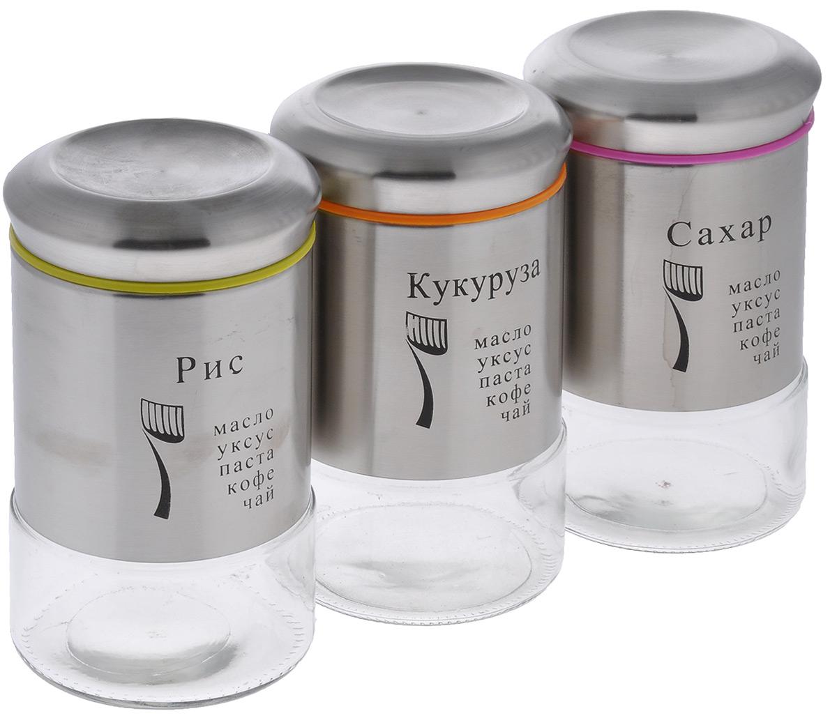 Набор банок для сыпучих продуктов Mayer & Boch, 6 предметов23491Набор банок Mayer & Boch изготовлен из первоклассной нержавеющей стали и стекла. Емкости можно наполнять любыми, используемыми Вами специями. Плотное закрытие крышки помогает сохранить свежесть и аромат содержимого, при этом не позволяет проникновение влаги. Такие банки обеспечат длительную сохранность ваших продуктов, а также безопасность от грызунов и насекомых. Диаметр банок (по верхнему краю): 8,5 см. Высота банок (без учета крышки): 17,7 см. Объем банок: 750 мл. Количество банок: 3 шт.