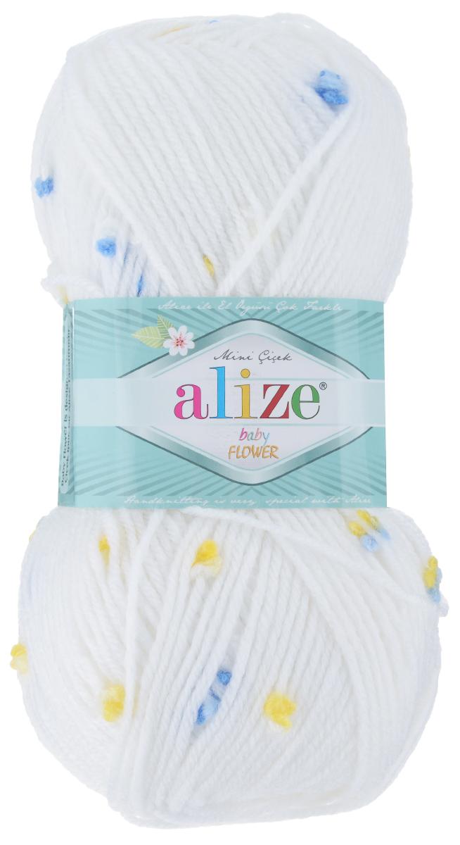 Пряжа для вязания Alize Baby Flower, цвет: белый, голубой, желтый (5430), 210 м, 100 г, 5 шт582006_5430Alize Baby Flower - это фантазийная пряжа. Она будет хорошо смотреться на всевозможных детских изделиях (жилетах, платьицах, а также подходит для вязания шапок, шарфов, снудов). Качественно скрученная ровная нить состоит из 94% акрила и 6% полиамида, с пришитыми по всей длине маленькими цветочками. Теплая, мягкая пряжа предназначена для ручного вязания. Рекомендуемый размер спиц 3,5-4,5 мм и крючка 2-3 мм. Состав: 94% акрил, 6% полиамид.