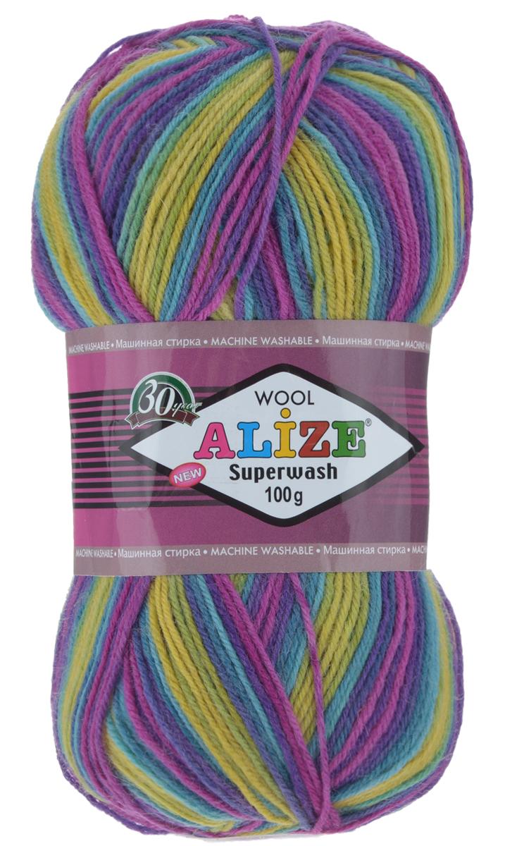 Пряжа для вязания Alize Superwash, цвет: фиолетовый, фуксия, желтый (4656), 420 м, 100 г, 5 шт549365_4656Пряжа для вязания Alize Superwash изготовлена из 75% шерсти и 25% полиамида. Пряжа упругая, эластичная, теплая, уютная и не колется, что очень подходит для детей и взрослых. Тонкая нитка прекрасно подойдет для вязки легких, но в тоже время теплых вещей. Пряжа легко распускается и перевязывается несколько раз, не деформируясь и не влияя на вид изделия. Натуральная шерстяная нить, обеспечивает изделию прекрасную форму. Рекомендуется ручная стирка при температуре 30°C. Рекомендуемый размер спиц 2-4 мм и крючка 1-3 мм. Толщина нити: 2 мм. Состав: 75% шерсть, 25% полиамид.