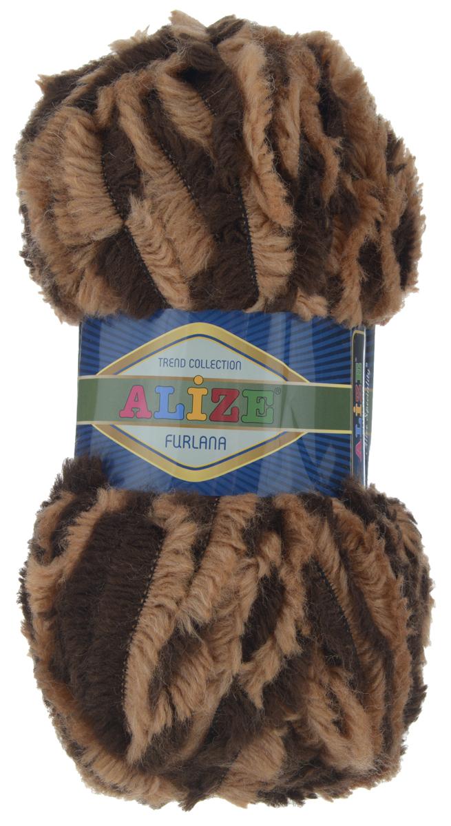 Пряжа для вязания Alize Furlana, цвет: коричневый, темно-коричневый (5442), 40 м, 100 г, 5 шт582007_5442Alize Furlana - это полушерстяная пряжа для ручного вязания, имитирующая мех с натуральной текстурой. Нить плотно скручена, гибкая, послушная. Стойкое равномерное окрашивание обеспечивает широкую палитру оттенков, высокое качество материала и используемых красителей защищает от потери цвета. Соотношение шерсти и акрила - формула практичности. Высокие тепловые характеристики сочетаются с эстетикой, носкостью и простотой ухода за вещью. Классическая пряжа для зимнего сезона, может использоваться для детской и взрослой одежды. Alize Furlana - универсальная пряжа, которая будет хорошо смотреться в узорах любой сложности. Состав: 45% шерсть, 45% акрил, 10% полиамид.