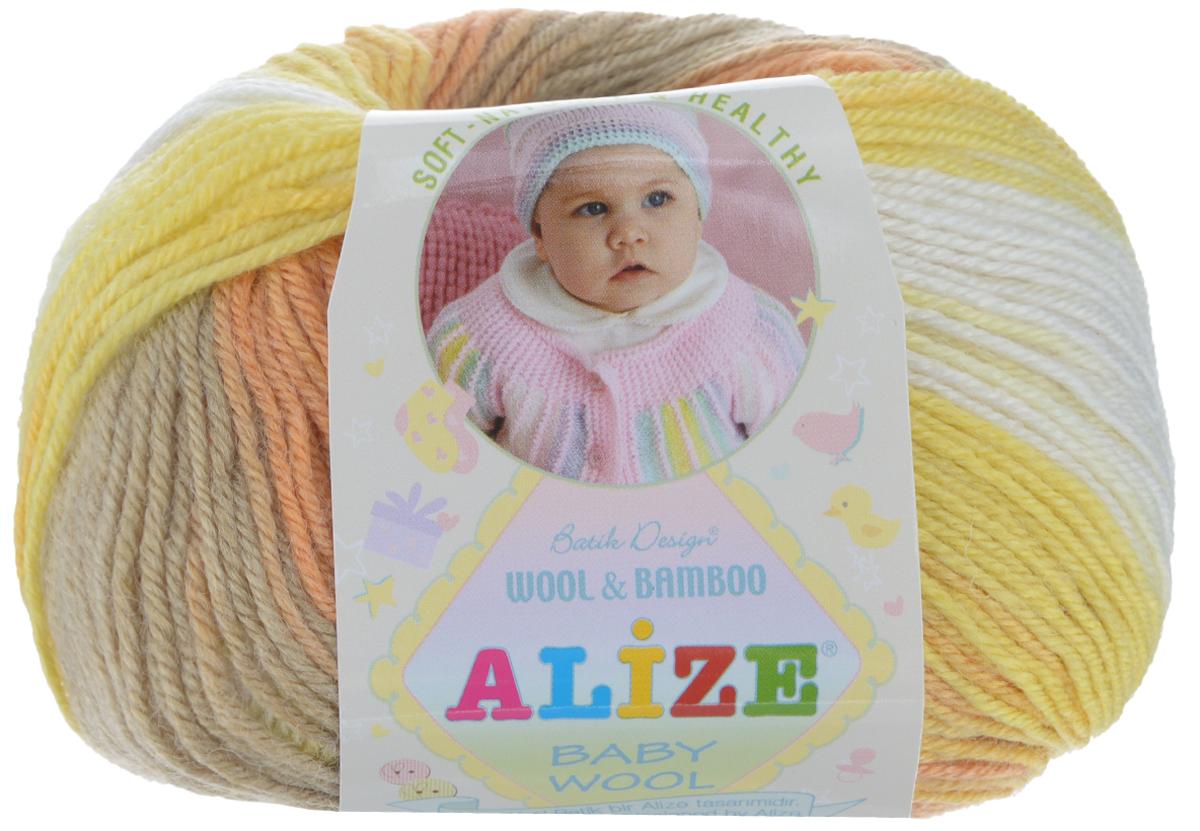 Пряжа для вязания Alize Baby Wool, цвет: бежевый, желтый, белый (4797), 175 м, 50 г, 10 шт372104_4797Детская пряжа для вязания Alize Baby Wool изготовлена из очень мягкой и высококачественной натуральной шерсти и бамбука. Из пряжи Baby Wool получается тонкий, но очень теплый трикотаж для ребенка. Акрил в составе нитей допускает легкую машинную стирку вещей. Цветовая палитра включает в себя комбинации, которые подходят как для мальчиков, так и для девочек. Рекомендуемые для вязания спицы 2,5-4 мм и крючки 1-3 мм. Комплектация: 10 мотков. Состав: 40% шерсть, 40% акрил, 20% бамбук.