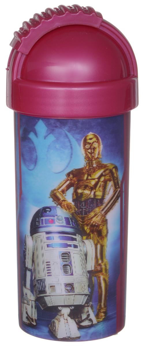 Star Wars Стакан детский с крышкой и трубочкой Роботы 400 млSWF400-03Детский стакан Star Wars Роботы станет отличным подарком для любого фаната знаменитой саги. Он выполнен из полипропилена и оформлен 3D-рисунком с изображением дроидов R2D2 и C3PO. Стакан имеет съемную крышку с отодвигающейся заслонкой, под которой расположена трубочка для удобства питья. Объем стакана: 400 мл. Не подходит для использования в посудомоечной машине и СВЧ-печи.