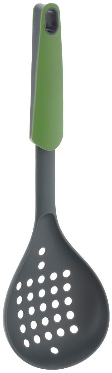 Шумовка Mayer & Boch, цвет: зеленый, длина 31,5 см. 2333123331Шумовка Mayer & Boch, изготовленная из нейлона, поможет вам без особого труда снять пену, вынуть из кастрюли мясо или рыбу. Ручка из термопластика и полипропилена оснащена небольшим отверстием, благодаря которому шумовку можно подвесить в удобном для вас месте на кухне. Практичная и удобная шумовка Mayer & Boch займет достойное место среди аксессуаров на вашей кухне. Общая длина шумовки: 31,5 см. Размер рабочей части: 14 см х 11 см.