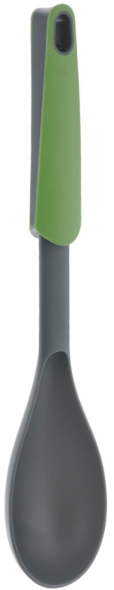 Ложка кулинарная Mayer & Boch, цвет: зеленый, серый, длина 31 см23334Кулинарная ложка Mayer & Boch выполнена из нейлона и идеально подходит для перемешивания супов, соусов, заправок. Удобная ручка из полипропилена и термопластика не позволит выскользнуть ручке из вашей руки. Также есть небольшое ушко, с помощью которого вы можете повесить изделие у себя на кухне. Эта ложка займет достойное место среди аксессуаров на вашей кухне. Общая длина ложки: 31 см. Размер рабочей поверхности: 13 х 6,5 см.