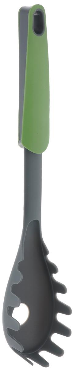 Ложка для пасты Mayer & Boch, цвет: зеленый, длина 31,5 см. 2333723337Ложка для пасты Mayer & Boch изготовлена из нейлона и предназначена для выкладывания пасты из кастрюли на тарелку. Изделие имеет отверстие и специальные прорези для стекания жидкости. Очень удобная ручка, изготовленная из полипропилена и термопластика, не позволит выскользнуть ложке из вашей руки, а благодаря небольшой петле можно подвесить изделие на кухне. Практичная и удобная ложка Mayer & Boch займет достойное место среди аксессуаров на вашей кухне. Общая длина ложки: 31,5 см. Размер рабочей поверхности:13 см х 6 см.