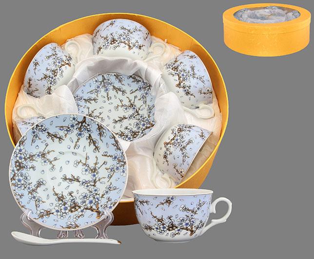 Набор чайный Elan Gallery Сакура, цвет: голубой, белый, коричневый, 18 предметов730598Чайный набор Elan Gallery Сакура состоит из шести чашек, шести блюдец и шести ложек, изготовленных из высококачественной керамики Предметы набора оформлены изящным ярким рисунком. Чайный набор Elan Gallery Сакура украсит ваш кухонный стол, а также станет замечательным подарком друзьям и близким. Нельзя мыть в посудомоечной машине. Объем чашки: 250 мл. Диаметр чашки по верхнему краю: 9,5 см. Высота чашки: 6 см. Диаметр блюдца: 14 см. Высота блюдца: 2,2 см. Длина ложки: 13 см.