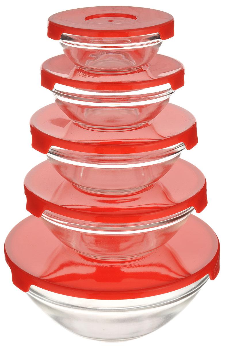 Набор салатников Walmer, с крышками, цвет: краснай, 10 предметовW05400005Набор Walmer состоит из пяти круглых салатников разного объема, выполненных из прочного стекла. Салатники оснащены цветными пластиковыми крышками. Они плотно закрываются и дольше сохраняют продукты свежими. Такой набор прекрасно подойдет для сервировки различных блюд. Он придется по вкусу и ценителям классики, и тем, кто предпочитает утонченность и изящность. Яркий дизайн украсит стол и порадует вас и ваших гостей. Можно мыть в посудомоечной машине. Диаметр салатников (по верхнему краю): 17 см, 14 см, 12,5 см, 10,5 см, 9,2 см. Высота стенок салатников: 7,2 см, 5,7 см, 5,3 см, 4,5 см, 3,7 см. Объем салатников: 900 мл, 440 мл, 360 мл, 200 мл, 125 мл.