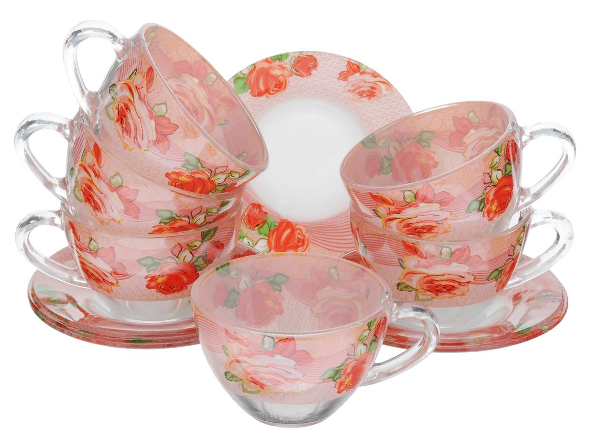 Сервиз чайный Bohmann, 12 предметов, цвет: розовый, прозрачный, зеленый. 01200BHG01200BHG_розовыйЧайный сервиз Bohmann состоит из шести чашек и шести блюдец, изготовленных из высококачественного прозрачного стекла. Предметы набора оформлены красочным принтом. Изящный дизайн придется по вкусу и ценителям классики, и тем, кто предпочитает утонченность и изысканность. Он настроит на позитивный лад и подарит хорошее настроение с самого утра. Сервиз чайный - идеальный и необходимый подарок для вашего дома и для ваших друзей в праздники, юбилеи и торжества! Он также станет отличным корпоративным подарком и украшением любой кухни. Диаметр блюдца: 12,5 см. Объем чашки: 200 мл. Диаметр чашки по верхнему краю: 9 см. Высота чашки: 6 см.