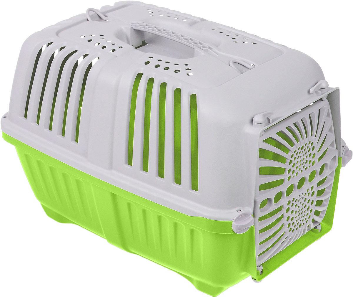 Переноска для животных MPS Pratiko, с пластиковой дверцей, цвет: салатовый, светло-серый, 48 см х 31,5 см х 33 смS01130100_салатовый, светло-серыйПереноска MPS Pratiko, выполненная из легкого пластика, прекрасно подойдет для транспортировки собак и кошек. Дно переноски снабжено устойчивыми ножками. Крышка с отверстиями для вентиляции оснащена влитой ручкой и двумя петлями для крепления ремня. Крышка крепится к поддону и на дополнительные поворотные фиксаторы. Пластиковая дверь крепится четырьмя поворотными фиксаторами.