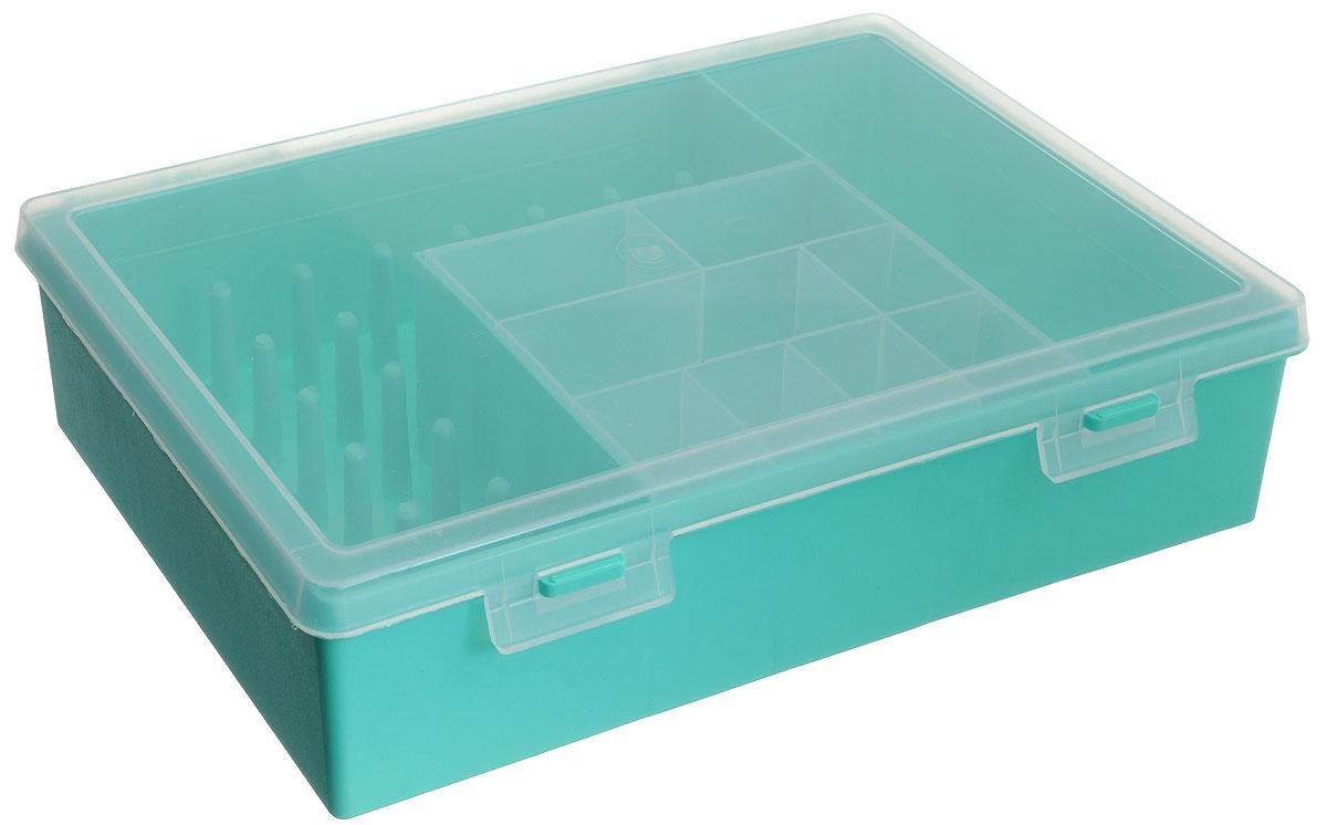 Коробка для мелочей Trivol, двухъярусная, цвет: мятный, прозрачный, 28,2 х 19 х 7 см688156_мятныйКоробка Trivol, изготовленная из высококачественного пластика, оснащена двухъярусным отделением. Верхний ярус представляет собой съемное отделение, в котором содержится 8 ячеек. Нижний ярус выполнен в виде отделения прямоугольной формы и оснащен 5 ячейками для различных мелочей и 1 одной ячейкой для катушек. Прозрачная крышка позволяет видеть содержимое коробки, которая прекрасно подойдет для хранения швейных принадлежностей, рыболовных снастей, мелких деталей и других бытовых мелочей. Удобный и надежный замок-защелка обеспечивает надежное закрывание крышки. Коробка легко моется и чистится. Такая коробка поможет держать вещи в порядке. Размер нижнего яруса: 27,2 см х 16,5 см х 7 см. Размер верхнего яруса: 12,3 см х 10,5 см х 3,5 см. Размер большой ячейки: 16,5 см х 20,5 см х 7 см. Размер малой ячейки: 3,5 см х 3,2 см х 3,5 см.