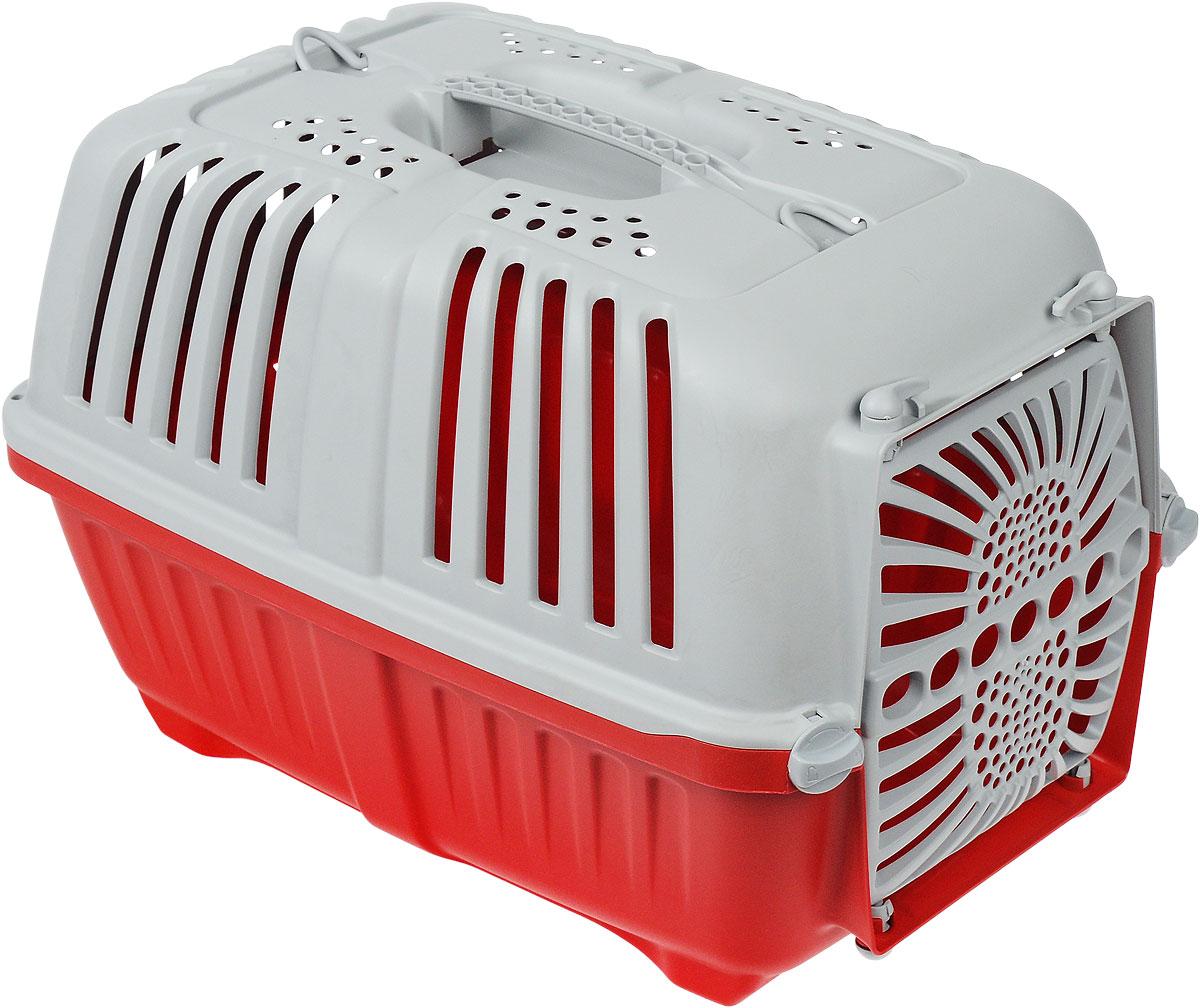 Переноска для животных MPS Pratiko, с пластиковой дверцей, цвет: красный, светло-серый, 48 см х 31,5 см х 33 смS01130100_красный, светло-серыйПереноска MPS Pratiko, выполненная из легкого пластика, прекрасно подойдет для транспортировки собак и кошек. Дно переноски снабжено устойчивыми ножками. Крышка с отверстиями для вентиляции оснащена влитой ручкой и двумя петлями для крепления ремня. Крышка крепится к поддону и на дополнительные поворотные фиксаторы. Пластиковая дверь крепится четырьмя поворотными фиксаторами.