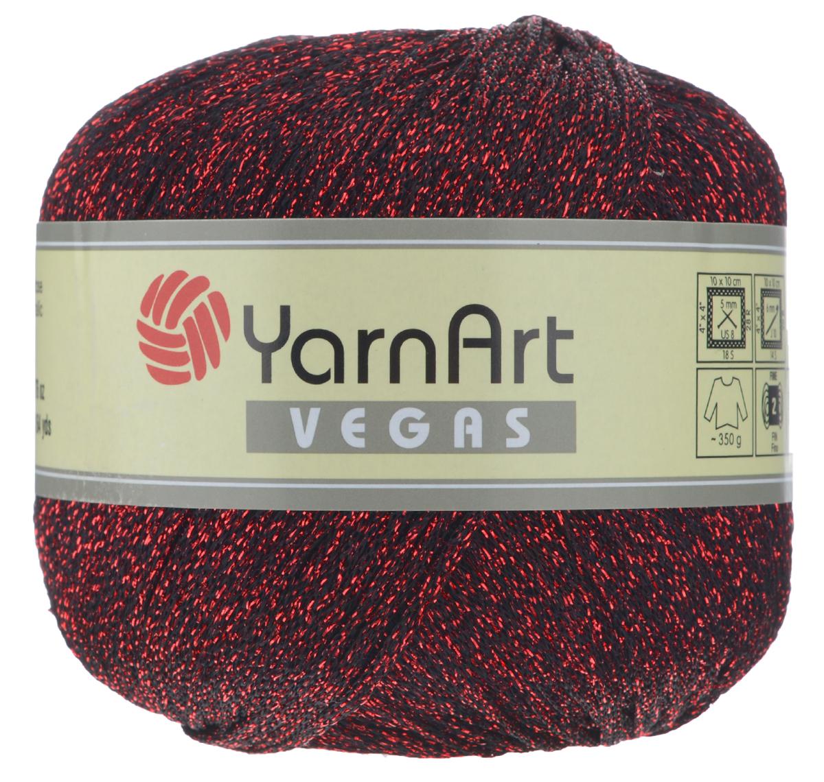 Пряжа для вязания YarnArt Vegas, цвет: красный, черный (50), 150 м, 50 г, 4 шт пряжа для вязания yarnart baby color цвет белый черный 273 150 м 50 г 5 шт