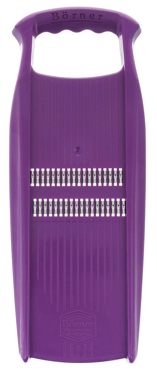 Роко-терка Borner Prima, цвет: фиолетовый3580602Роко-терка Borner Prima станет отличным помощником на вашей кухне, особенно для любителей моркови по-корейски. Корпус терки изготовлен из ударопрочного пластика и оснащен металлическими лезвиями, заточенными с двух сторон. Роко-терка Borner Prima делает великолепную нарезку для салатов и сырную стружку. Овощи нарезаются настолько тонко, что мгновенно пропитываются майонезом или запекаются. Виды нарезки: - тонкая длинная соломка из овощей; - тонкая короткая соломка (для салатов из редиса, огурца, моркови, перца и многого другого); - мелкая крошка (для лука или капусты); - мелкая стружка (для сыра). Длина лезвия: 8,3 см.