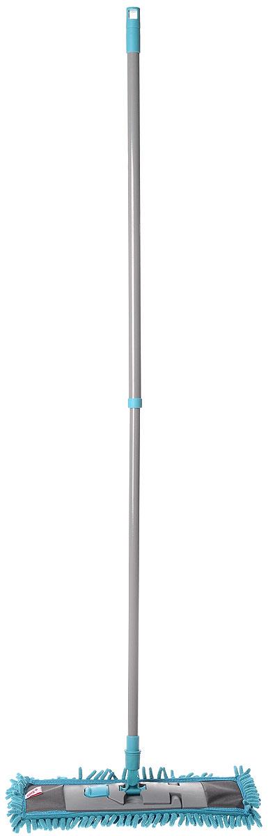 Швабра York Salsa, с рукояткой, цвет: серый, голубой, длина 82 см8130_серый, голубойШвабра York Salsa на плоской пластикой подошве идеально подходит для мытья любых типов напольных покрытий. Плоская насадка, выполненная из микрофибры с крупным ворсом, позволяет быстро и эффективно ухаживать за всеми видами полов. Швабра оснащена металлическим черенком с петлей, которая позволит повесить на крючок в любом удобном для вас месте. Швабра York Salsa обеспечивает высокое качество уборки без применения химии. Длина швабры: 82 см. Размер рабочей части: 41 х 12,5 см.