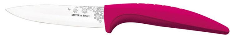Нож универсальный Mayer & Boch, керамический, цвет: розовый, белый, длина лезвия 10,2 см. 2184021840_розовыйУниверсальный нож Mayer & Boch выполнен из высококачественной керамики, рукоятка изготовлена из термопластика. Лезвие декорировано оригинальным цветочным рисунком. Нож легко режет любые виды продуктов. Высокая плотность и качество ножа делают его устойчивым к пищевым кислотам, препятствуют появлению пятен или ржавчины. Нож не придает металлического вкуса или запаха продуктам, а также имеет поверхность, не допускающую прилипания, что делает нож более гигиеничным и безопасным. Легко моется. Нельзя мыть в посудомоечной машине. Общая длина ножа: 20,2 см.