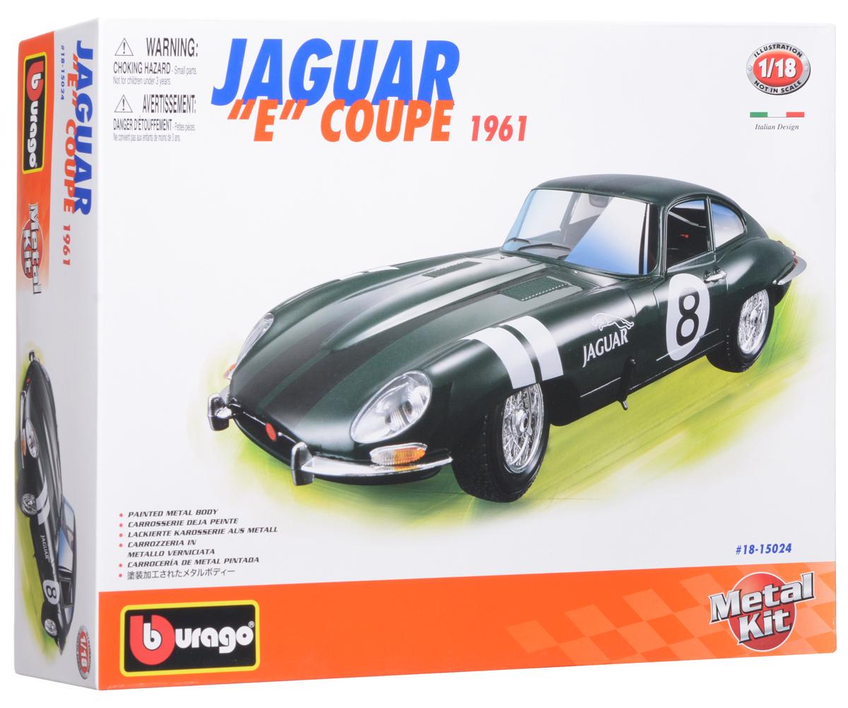Bburago Сборная модель автомобиля Jaguar E Coupe 196118-15024BАвтомобиль Jaguar E Coupe 1961 от компании Bburago является одной из моделей серии Collezione Kit. Модель выполнена в масштабе 1:18 и воспроизводит все детали внешнего облика реального автомобиля данной марки. Корпус модели выполнен из металла, машинка представлена в зеленом цвете, имеет открывающиеся багажник, капот, двери. При повороте руля поворачиваются колеса автомобиля. Рекомендуется для детей в возрасте от 8-ми лет.