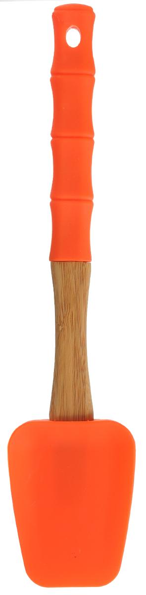Лопатка кулинарная Mayer & Boch, цвет: оранжевый, длина 29 см23163Кулинарная лопатка Mayer & Boch изготовлена из экологически чистого материала - бамбука, обладающего уникальной текстурой. Элегантная ручка оснащена силиконовой вставкой, что дает возможность удобно и комфортно пользоваться лопаткой. Рабочая поверхность лопатки выполнена из жароупорного силикона, который выдерживает температуру до + 230°С. Кулинарная лопатка Mayer & Boch - это практичный и необходимый подарок любой хозяйке! Размер рабочей поверхности: 8,5 х 6,5 х 1,5 см. Общая длина лопатки: 29 см.