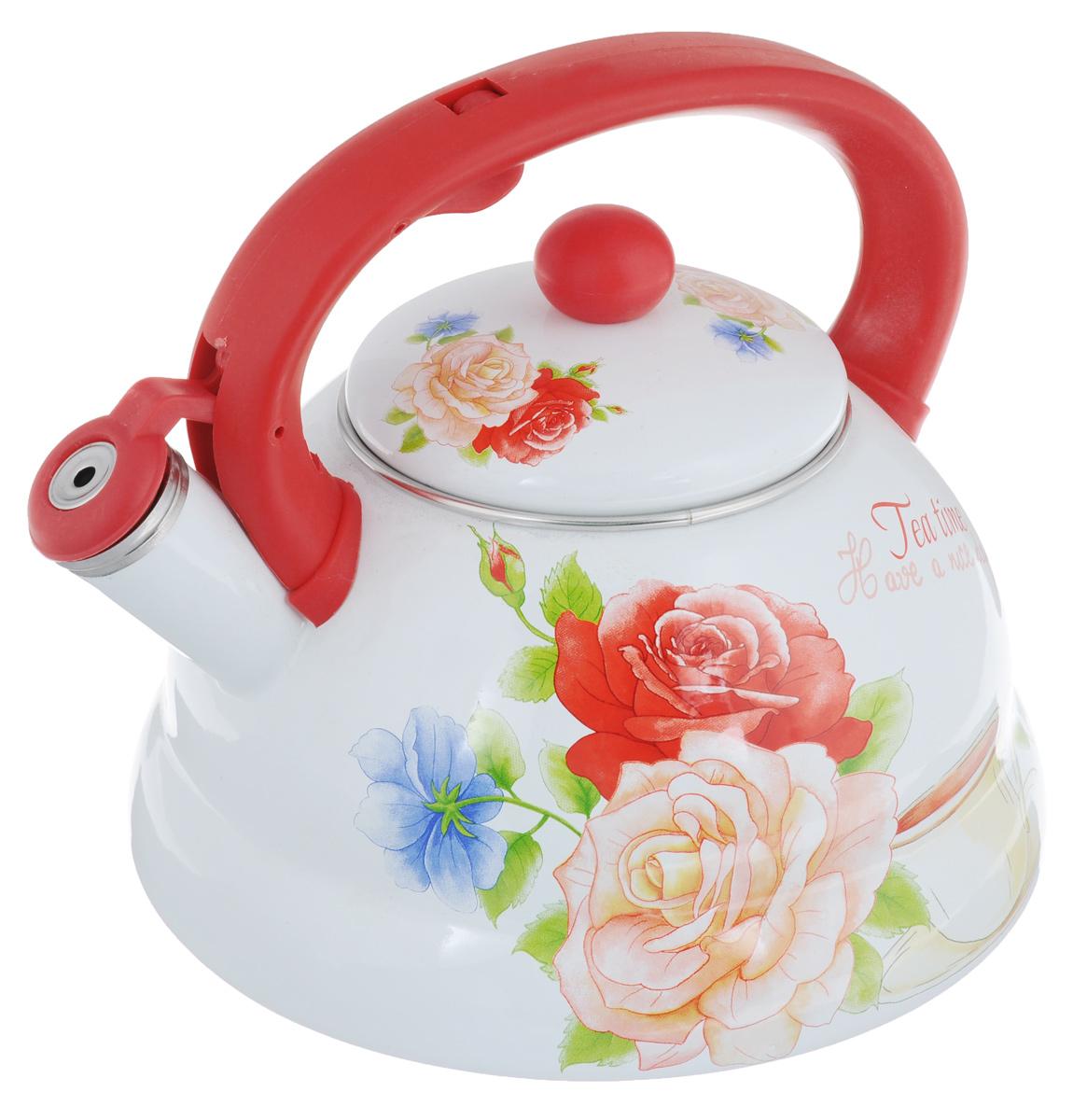 Чайник эмалированный Mayer & Boch Розы, со свистком, 3 л23083Чайник Mayer & Boch Розы выполнен из высококачественной углеродистой стали. Капсулированное дно с прослойкой из алюминия обеспечивает наилучшее распределение тепла. Носик чайника оснащен насадкой-свистком, что позволит вам контролировать процесс подогрева или кипячения воды. Фиксированная бакелитовая ручка дает дополнительное удобство при разлитии напитка. Поверхность чайника гладкая, что облегчает уход за ним. Эстетичный и функциональный, с эксклюзивным дизайном, чайник будет оригинально смотреться в любом интерьере. Подходит для всех типов плит, включая индукционные. Можно мыть в посудомоечной машине. Высота чайника (без учета ручки и крышки): 12 см. Высота чайника (с учетом ручки и крышки): 20 см Диаметр чайника (по верхнему краю): 12 см.