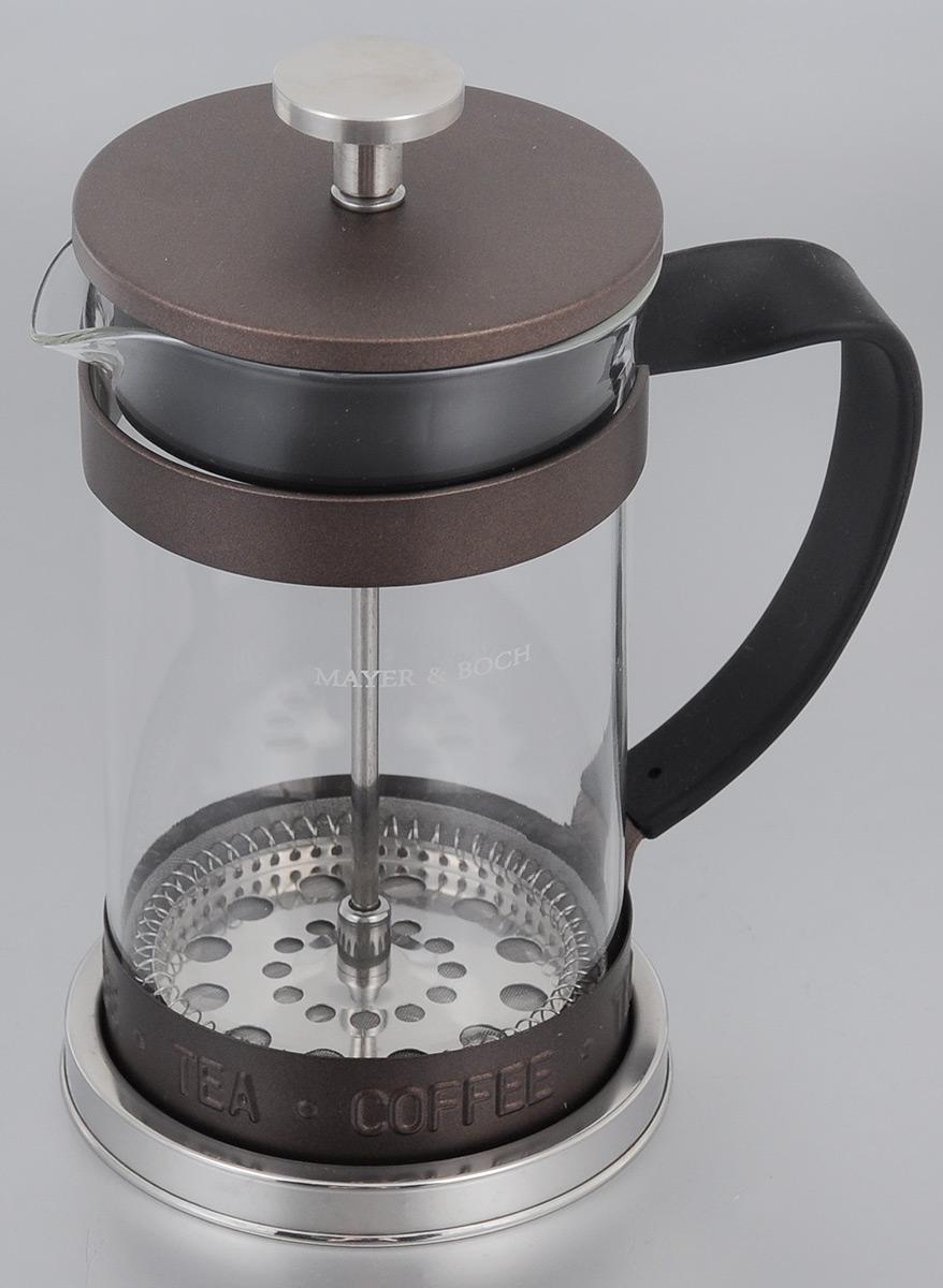 Френч-пресс Mayer & Boch, 600 мл. 2491324913Френч-пресс Mayer & Boch  изготовлен из высококачественной нержавеющей стали и жаропрочного стекла. Фильтр-поршень из нержавеющей стали выполнен по технологии press-up для обеспечения равномерной циркуляции воды. Засыпая чайную заварку или кофе под фильтр, заливая горячей водой, вы получаете ароматный напиток с оптимальной крепостью и насыщенностью. Остановить процесс заваривания легко, для этого нужно просто опустить поршень, и все уйдет вниз, оставляя вверху напиток, готовый к употреблению.Френч-пресс Mayer & Boch позволит быстро и просто приготовить свежий и ароматный кофе или чай.