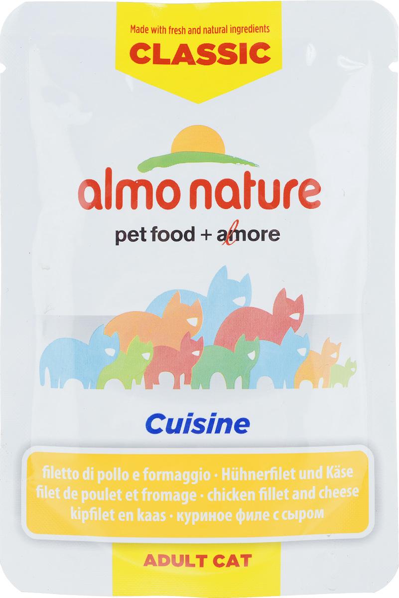 Консервы для взрослых кошек Almo Nature Classic Cuisine, куриное филе с сыром, 55 г23199_newКонсервы Almo Nature Classic Cuisine - это корм, рекомендованный взрослым кошкам. Угощение изготавливается из свежих и натуральных ингредиентов. Ваш питомец будет в полном восторге! Не содержит сои, консервантов, ароматизаторов, искусственных красителей, усилителей вкуса. Состав: 43% куриное филе, куриный бульон, 5% сыр, рис, витамин А (1325 Ul/кг), витамин Е (15 мг/кг), таурин (160 мг/кг). Пищевая ценность в 100г: белки - 12%, жиры - 1%, зола - 2%, клетчатка - 0,1%, влага - 83%. Энергетическая ценность: 500 ккал/кг. Товар сертифицирован.
