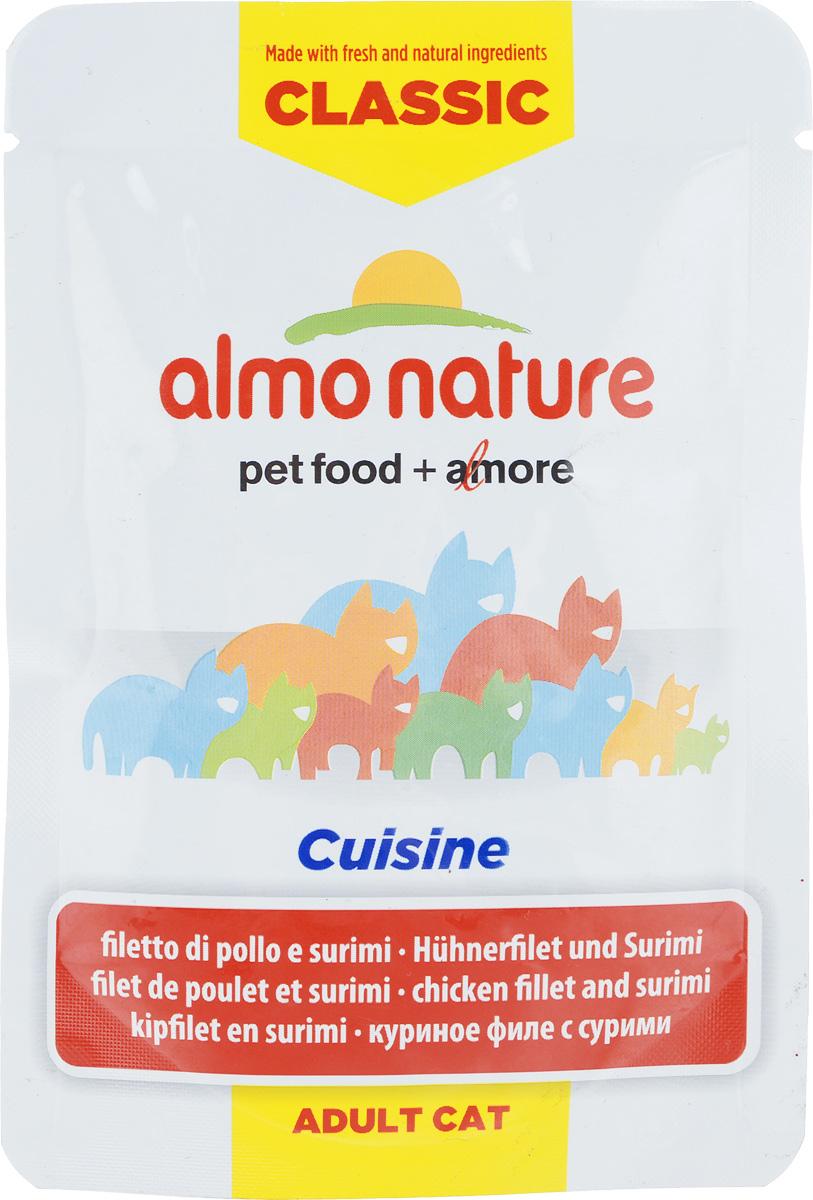 Консервы для взрослых кошек Almo Nature Classic Cuisine, куриное филе с сурими, 55 г24077_newКонсервы Almo Nature Classic Cuisine - это корм, рекомендованный взрослым кошкам. Угощение изготавливается из свежих и натуральных ингредиентов. Ваш питомец будет в полном восторге! Не содержит сои, консервантов, ароматизаторов, искусственных красителей, усилителей вкуса. Состав: 48% куриное филе, куриный бульон, 4,1% сурими, рис, витамин А (1325 Ul/кг), витамин Е (15 мг/кг), таурин (160 мг/кг). Пищевая ценность в 100г: белки - 13%, жиры - 0,4%, зола - 2%, клетчатка - 0,1%, влага - 82%. Энергетическая ценность: 480 ккал/кг. Товар сертифицирован.