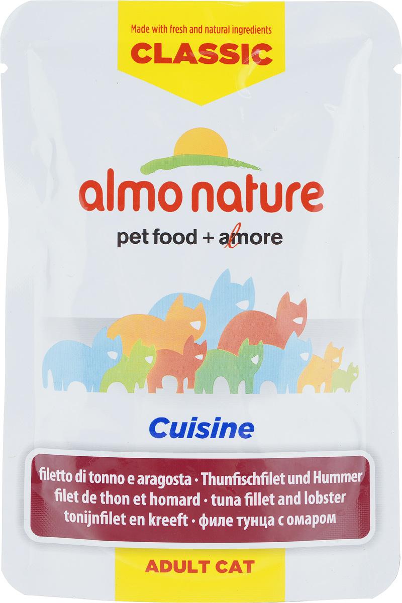 Консервы для взрослых кошек Almo Nature Classic Cuisine, филе тунца с омаром, 55 г23200_newКонсервы Almo Nature Classic Cuisine - это корм, рекомендованный взрослым кошкам. Угощение изготавливается из свежих и натуральных ингредиентов. Ваш питомец будет в полном восторге! Не содержит сои, консервантов, ароматизаторов, искусственных красителей, усилителей вкуса. Состав: 55% филе тунца, бульон из тунца, 4% омары, рис, 0,01% петрушка, витамин А (1325 Ul/кг), витамин Е (15 мг/кг), таурин (160 мг/кг). Пищевая ценность в 100г: белки - 14%, жиры - 0,5%, зола - 2%, клетчатка - 0,1%, влага - 83%. Энергетическая ценность: 530 ккал/кг. Товар сертифицирован.