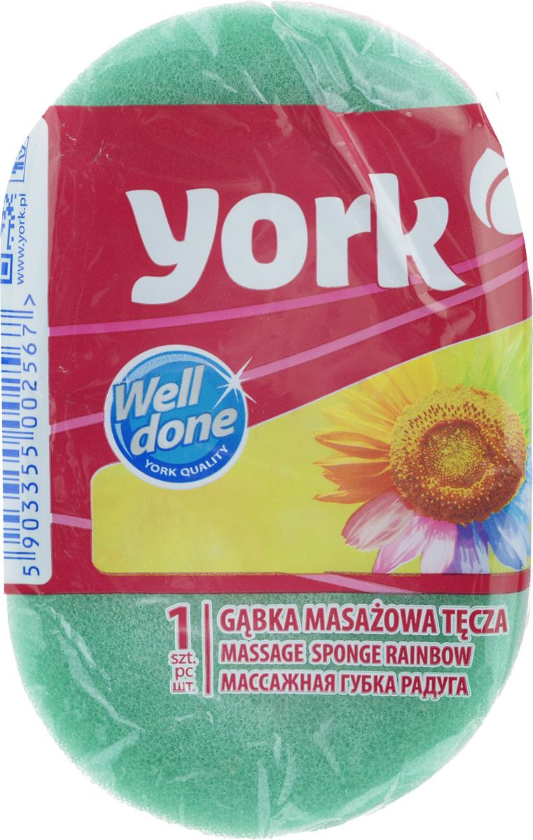 "Губка для тела York ""Радуга"", цвет:зеленый, 14,5 х 9 х 4,5 см 1106_зеленый"