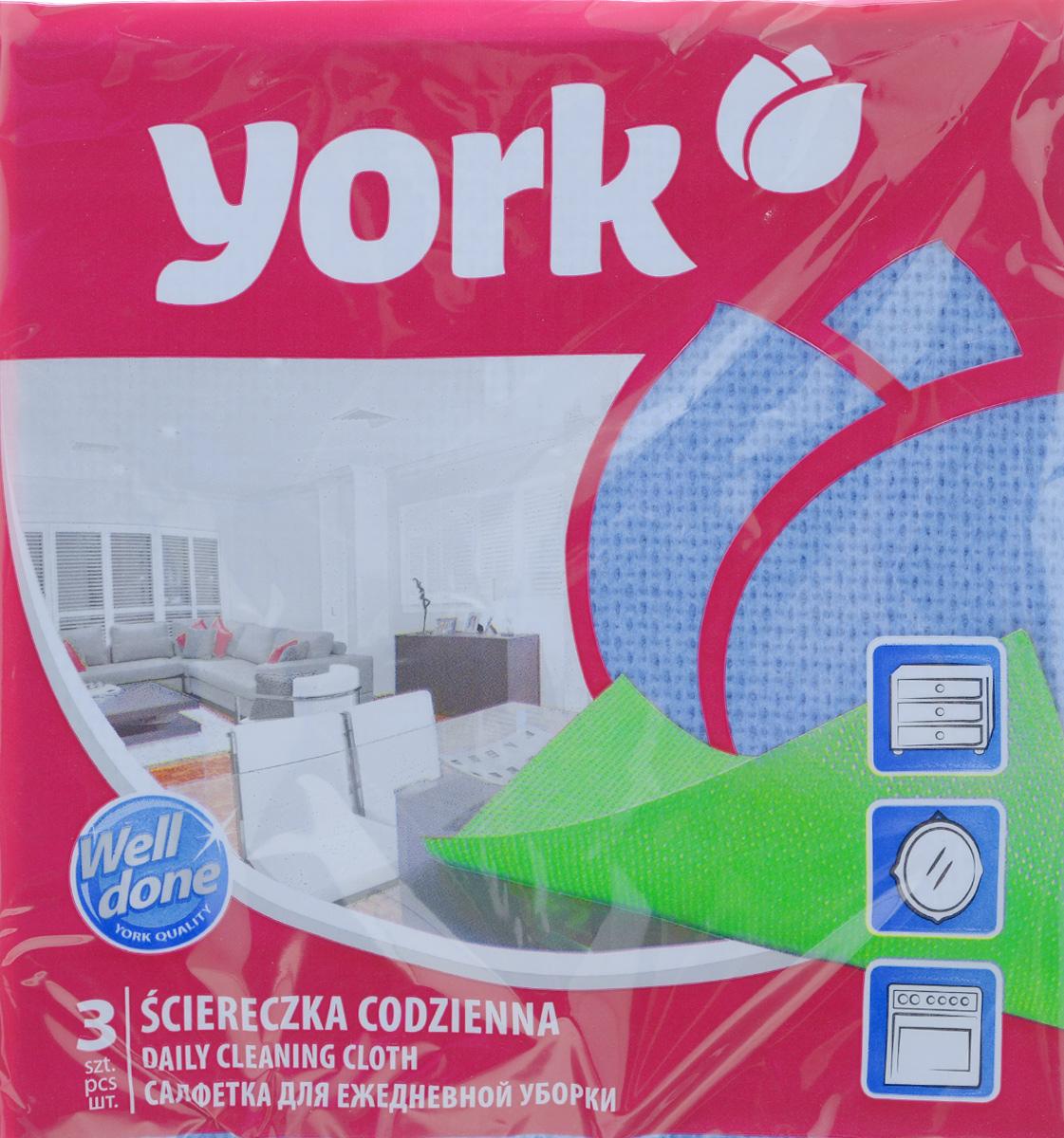 Салфетка для ежедневной уборки York Ламбада, цвет: синий, 37 х 40 см, 3 шт2106_синийУниверсальная салфетка York Ламбада предназначена для мытья, протирания и полировки различных поверхностей. Салфетка, выполненная из вискозы, отличается высокой прочностью. Салфетка хорошо поглощает влагу. Идеальна для ухода за столешницами и раковиной, а также для мытья посуды. Может использоваться в сухом и влажном виде. В комплекте 3 салфетки. Размер салфетки: 37 см х 40 см.