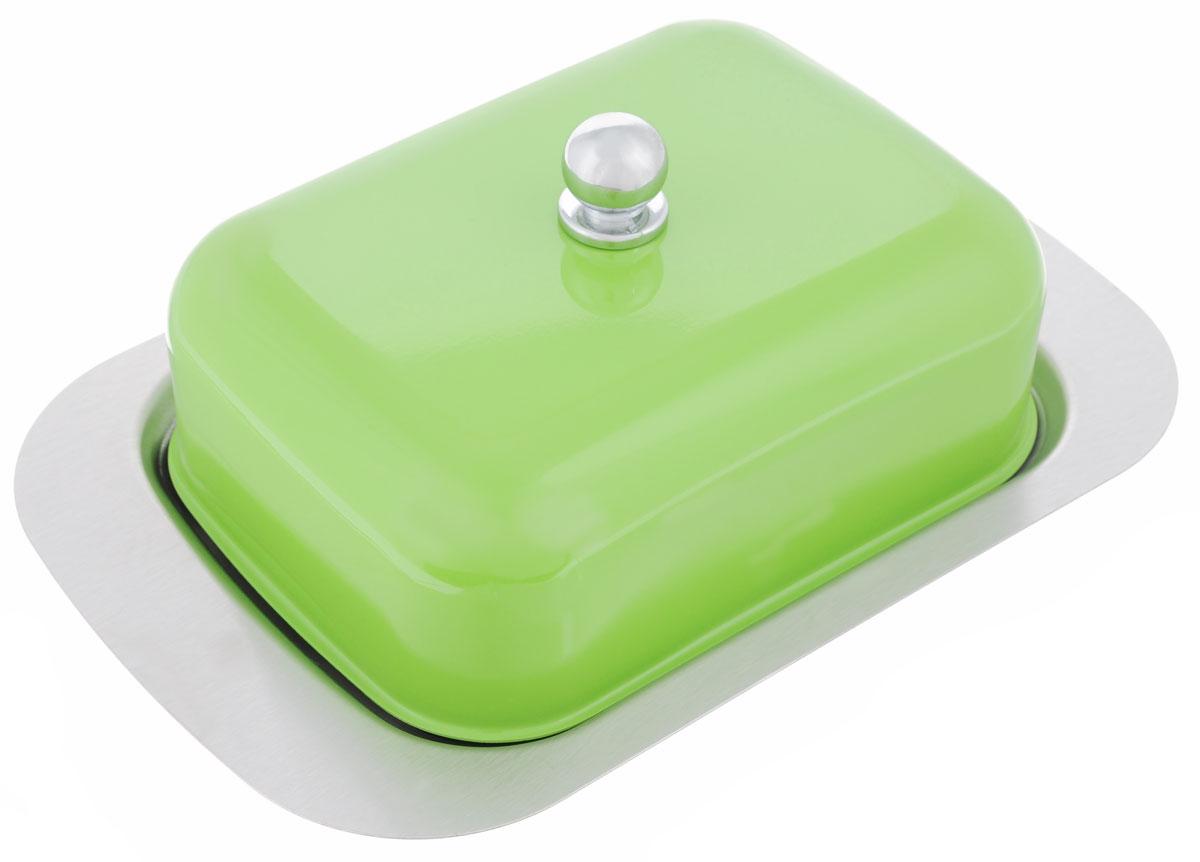 Масленка Mayer & Boch, цвет: зеленый, 3 предмета21378Масленка Mayer & Boch, выполненная из высококачественной нержавеющей стали, предназначена для красивой сервировки и хранения масла. Она состоит из подноса, крышки с ручкой и стеклянной чаши. Масло в ней долго остается свежим, а при хранении в холодильнике не впитывает посторонние запахи. Размер подноса: 18,5 х 12,5 х 1 см. Размер крышки: 13,5 х 9,5 х 6 см. Размер чаши: 12,5 х 8 х 2,5 см.